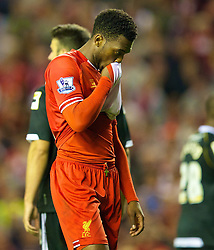 27.08.2013, Anfield, Liverpool, ENG, League Cup, FC Liverpool vs Notts County FC, 2. Runde, im Bild Liverpool's Daniel Sturridge looks dejected as his side throw away a two goal lead during the Football League Cup 2nd Round match during the English League Cup 2nd round match between Liverpool FC and Notts County FC, at Anfield, Liverpool, Great Britain on 2013/08/27. EXPA Pictures © 2013, PhotoCredit: EXPA/ Propagandaphoto/ David Rawcliffe<br /> <br /> ***** ATTENTION - OUT OF ENG, GBR, UK *****