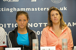 NOTTINGHAM, ENGLAND - Saturday, June 13, 2009: Laura Robson (GBR) and Olga Savchuk (UKR) during a press conference on day three of the Tradition Nottingham Masters tennis event at the Nottingham Tennis Centre. (Pic by David Rawcliffe/Propaganda)