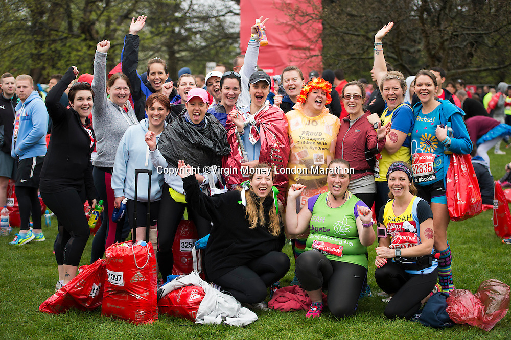 Competitors prepare before running The Virgin Money London Marathon, Sunday 26th April 2015.<br /> <br /> Photo: Thomas Lovelock for Virgin Money London Marathon<br /> <br /> For more information please contact Penny Dain at pennyd@london-marathon.co.uk