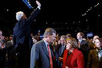 12 JAN 2003, BRAUNSCHWEIG/GERMANY:<br /> Edmund Stoiber, CSU, Ministerpraesident Bayern, Christian Wulff, CDU Landesvorsitzender Niedersachsen, Angela Merkel, CDU Bundesvorsitzende, (v.L.n.R.), nach der Rede von Stoiber, der den Applaus des Publikums entgegen nimmt, Wahlkampfauftakt der CDU Niedersachsen zur Landtagswahl, Volkswagenhalle<br /> IMAGE: 20030112-01-029<br /> KEYWORDS: Spitzenkandidat, Ministerpr&auml;sident