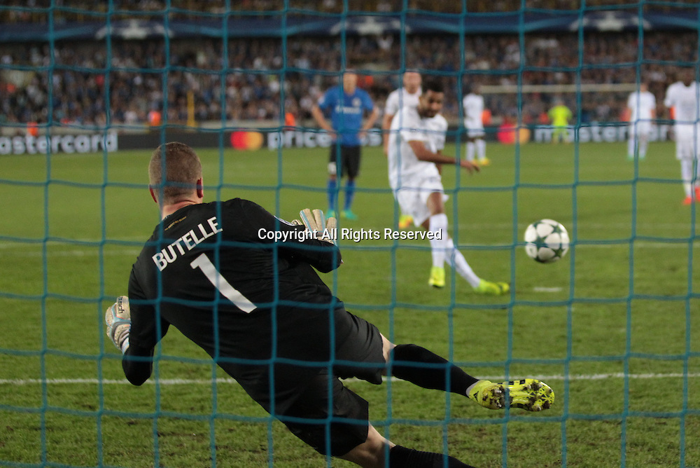14.09.2016. Stadium Jan Breydel, Bruge, Belgium. UEFA Cahmpions league football. FC Bruges versus Leicester City.  Penalty goal from Riyad Mahrez in the 61st minute for 0-3