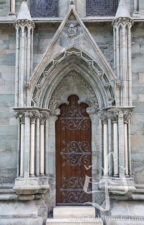 One of the ornate doors of the Nidaros Cathedral.