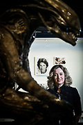 Frankfurt | 11.012018<br /> <br /> Ellen M. Harrington, Director Deutsches Filmmuseum and Deutsches Filminstitut, Portrait at Deutschen Filmmuseum with the &quot;Alien&quot; (Director: Ridley Scott, Figure by HR Giger geschaffen. In the background is a photo of young Dustin Hoffman and a conceptual drawing for the movie &quot;Terminator&quot; with Arnold Schwarzenegger.<br /> <br /> photo &copy; peter-juelich.com