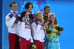 The XXII Winter Olympic Games 2014 in Sotchi, Olympics, Olympische Winterspiele Sotschi 2014<br /> Ksenia Stolbova and Fyodor Klimov (Russia) , Tatiana Volosozhar and Maxim Trankov (Russia), Aliona Savchenko and Robin Szolkowy (Germany) after performing free skating program in the pair skating competition at the XXII Olympic Winter Games in Sochi