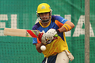 Justin Kemp of the Chennai Super Kings attempts to pull a delivery during the Superkings training session held at St Georges Park in Port Elizabeth on the 20 September 2010..Photo by: Shaun Roy/SPORTZPICS/CLT20