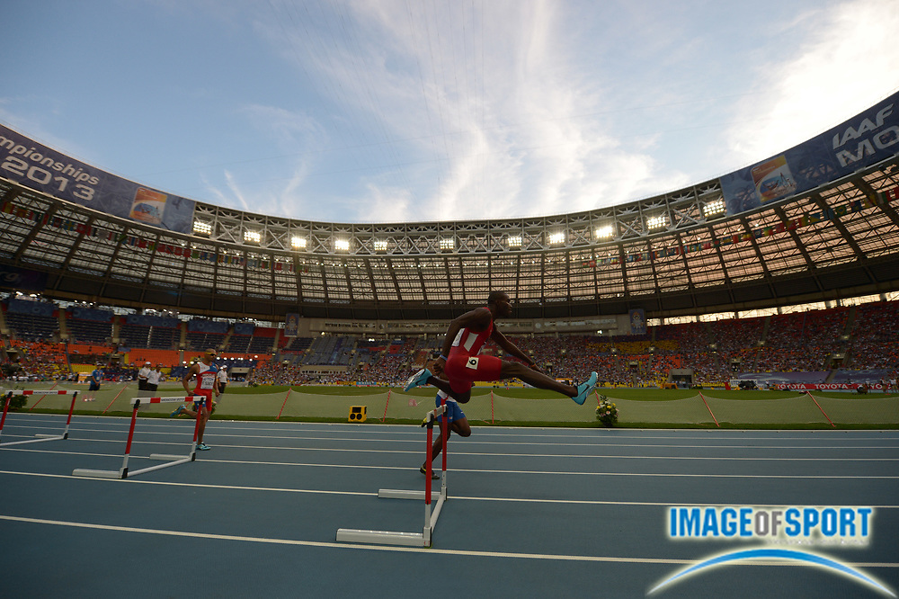 Aug 13, 2013; Moscow, RUSSIA; General view of Kerron Clement (USA) in a 400m semifinal in the 14th IAAF World Championships in Athletics at Luzhniki Stadium.