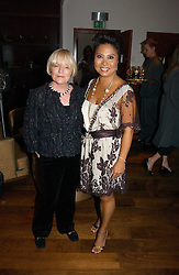 Left to right, ANNE CROSSLAND and Shoe designer TARYN ROSE  at a party to launch her atest collection held at Morton's, Berkeley Square, Lonon W1 on 11th September 2006.<br />
