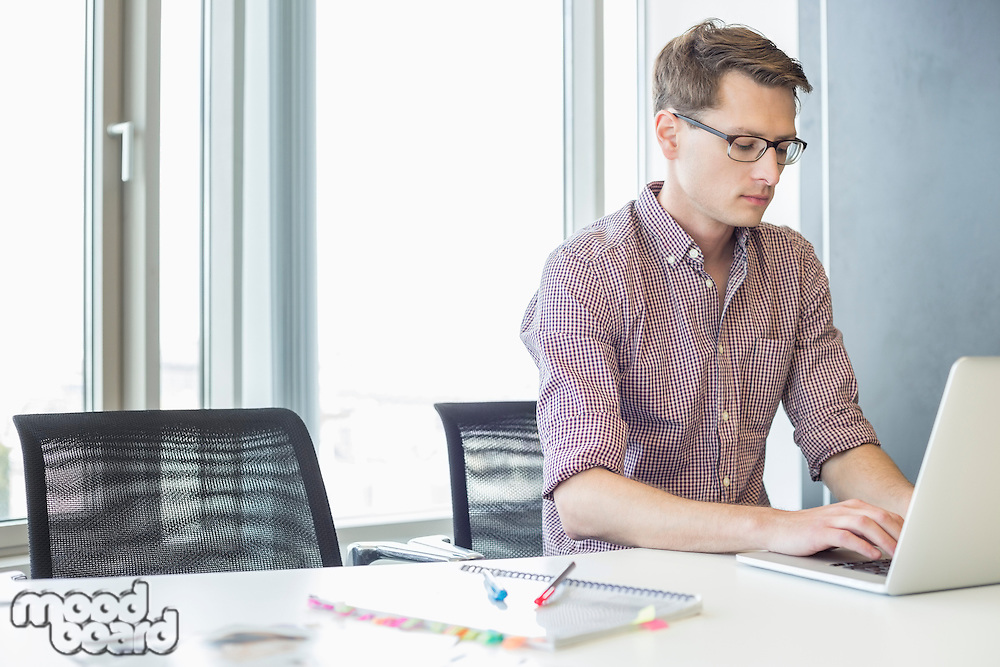 Businessman using laptop at desk in creative office