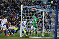 Football - 2018 / 2019 Premier League - Brighton and Hove Albion vs. Newcastle United<br /> <br /> Glenn Murray of Brighton heads just over the bar with the last attack in normal time at The Amex Stadium Brighton <br /> <br /> COLORSPORT/SHAUN BOGGUST