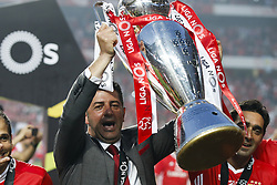 May 13, 2017 - Lisbon, Portugal - Benfica's coach Rui Vitoria holds the cup after winning their 36th title at the end of the Portuguese league football match SL Benfica vs Vitoria Guimaraes SC at the Luz stadium in Lisbon on May 13, 2017. (Credit Image: © Carlos Palma/NurPhoto via ZUMA Press)