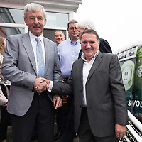 Previos shop owner Jim O'Dowd with new owner Gerry Gerraghty at the Official opening of Gerraghty's Spar in Turnpike