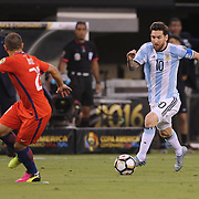 EAST RUTHERFORD, NEW JERSEY - JUNE 26:  Lionel Messi #10 of Argentina runs at Marcelo Diaz #21 of Chile during the Argentina Vs Chile Final match of the Copa America Centenario USA 2016 Tournament at MetLife Stadium on June 26, 2016 in East Rutherford, New Jersey. (Photo by Tim Clayton/Corbis via Getty Images)
