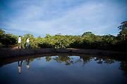 Januaria, 22 de marco de 2009..A fazenda Agroecologica Soma, se intitula uma fazenda produtora de agua. Localiza no municipio de Januaria, a 250 km de Montes Claros, usa a tecnica de Barraginhas ou Bacias de Captacao de Agua de Chuva para recuperar os lencois freaticos e consequentemente os rios da regiao. Em 2005, foram construidas mais de 300 barraginhas na regiao, e acredita-se que o volume de agua dos lencois freaticos cresceu, inclusive com a recuperacao de um rio que corta a propriedade...Na foto, Juliano de Souza Maia (esq) e Berilo Prates Maia Filho, proprietarios da fazenda e responsaveis pela aplicacao da tecnologia na regiao, em uma das barraginhas construidas...FOTO: BRUNO MAGALHAES / AGENCIA NITRO