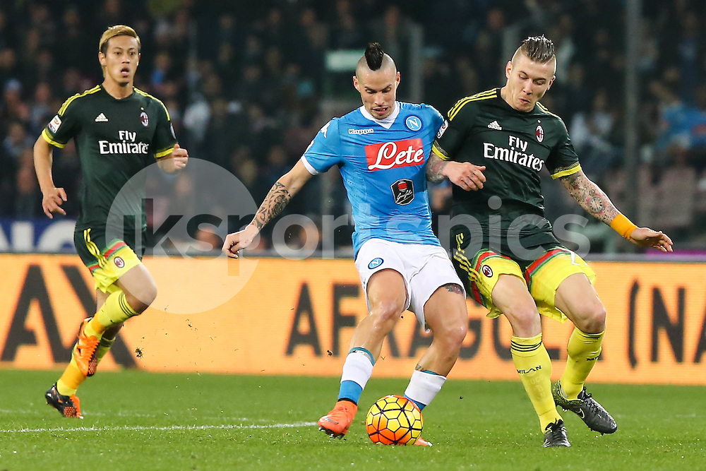 Marek Hamsik of Napoli and Juraj Kucka of AC Milan uring the Serie A TIM match between Napoli and AC Milan at Stadio San Paolo, Naples, Italy on 22 February 2016. Photo by Alfredo Panico.