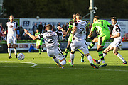 Forest Green Rovers Keanu Marsh-Brown(7) shoots at goal during the EFL Sky Bet League 2 match between Forest Green Rovers and Morecambe at the New Lawn, Forest Green, United Kingdom on 28 October 2017. Photo by Shane Healey.