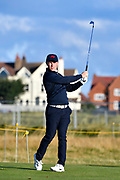 Conor Purcell (GB&I) plays from the second tee during the Sunday Foursomes in the Walker Cup at the Royal Liverpool Golf Club, Sunday, Sept 8, 2019, in Hoylake, United Kingdom. (Steve Flynn/Image of Sport)