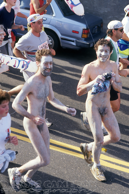 Unidentified naked men descend the Hayes Street hill at the 80th running of the Bay to Breakers 12K race, Sunday, May 19, 1991 in San Francisco. (Photo by D. Ross Cameron)