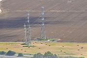 High voltage power line pylon photographed in Israel, Haifa bay.