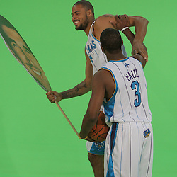 26 September 2008:  New Orleans Hornets guard Chris Paul (3) clowns around with New Orleans Hornets center Tyson Chandler (6) during media day for the New Orleans Hornets at the New Orleans Arena in New Orleans, LA.