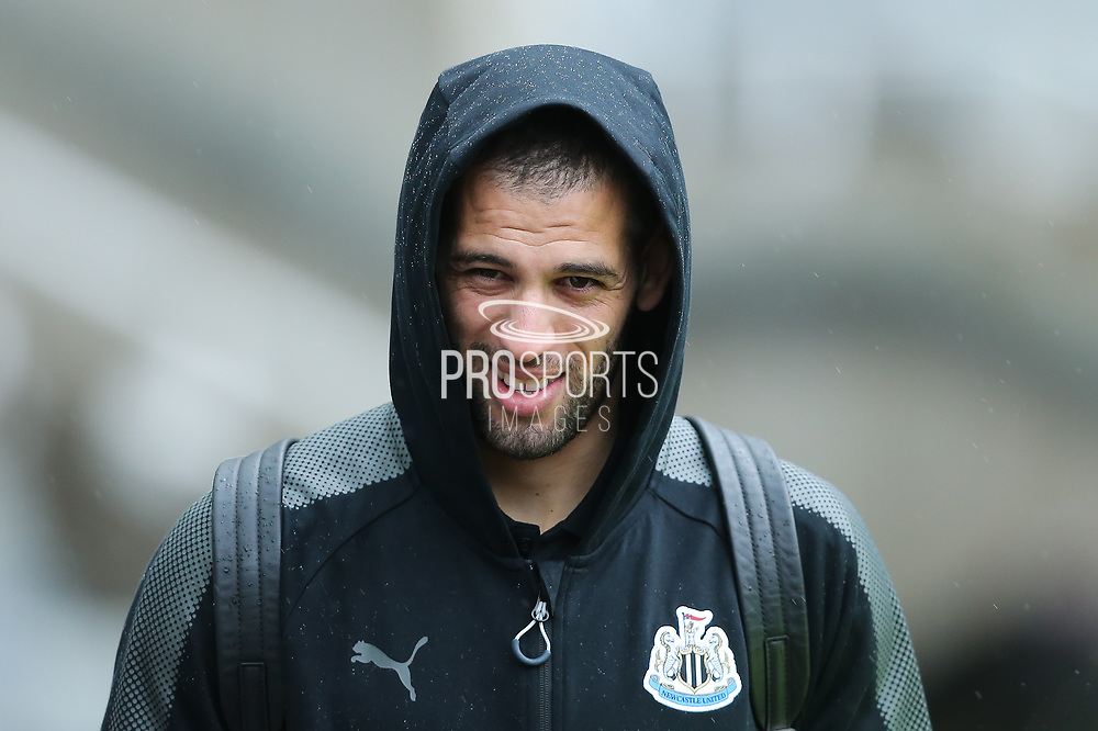 Islam Slimani (#13) of Newcastle United arrives ahead of the Premier League match between Newcastle United and Huddersfield Town at St. James's Park, Newcastle, England on 31 March 2018. Picture by Craig Doyle.