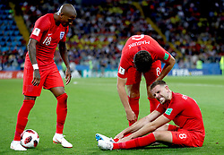 England's Jordan Henderson sits injured on the pitch during the FIFA World Cup 2018, round of 16 match at the Spartak Stadium, Moscow.