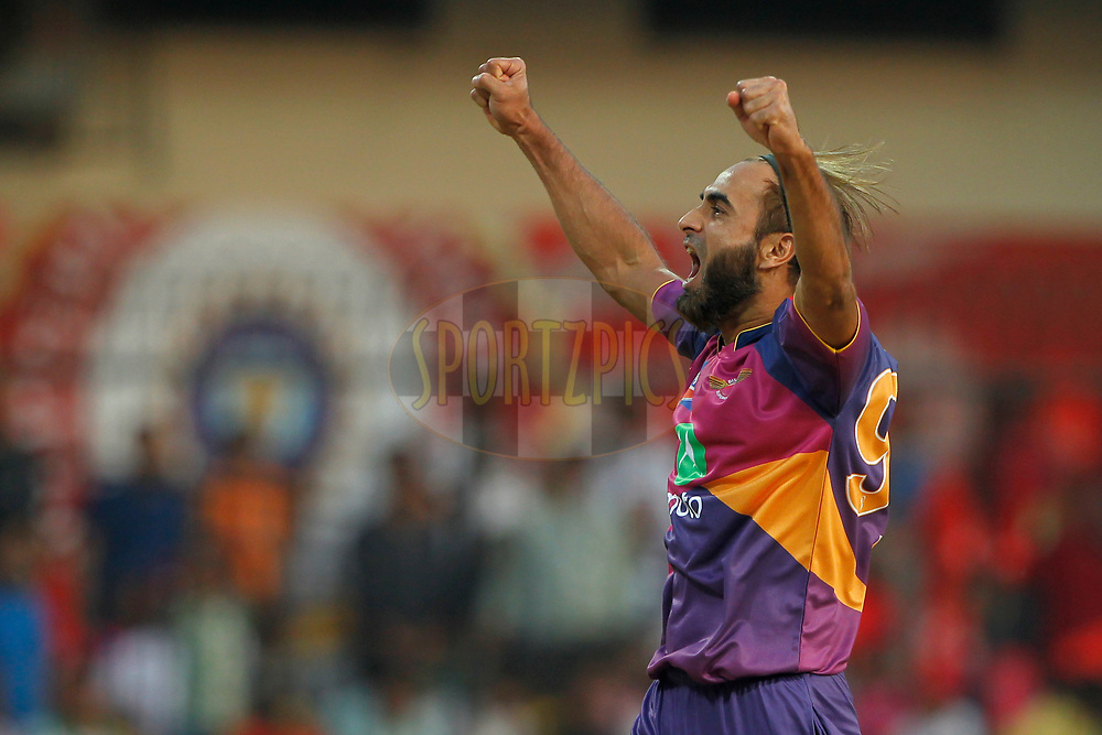 Imran Tahir of Rising Pune Supergiant celebrates the wicket of Wriddhiman Saha of Kings XI Punjab during match 4 of the Vivo 2017 Indian Premier League between the Kings X1 Punjab and the rising Pune Supergiant held at the Holkar Cricket Stadium in Indore, India on the 8th April 2017<br /> <br /> Photo by Deepak Malik - IPL - Sportzpics
