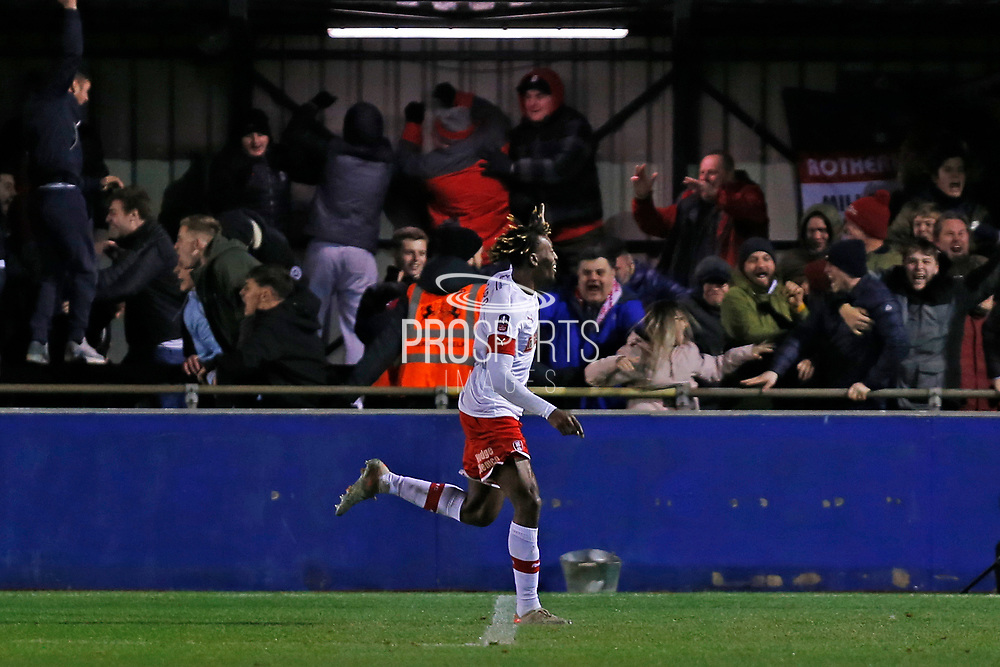 Freddie Ladapo celebrates in front of the Rotherham fans during the The FA Cup match between Solihull Moors and Rotherham United at the Automated Technology Group Stadium, Solihull, United Kingdom on 2 December 2019.