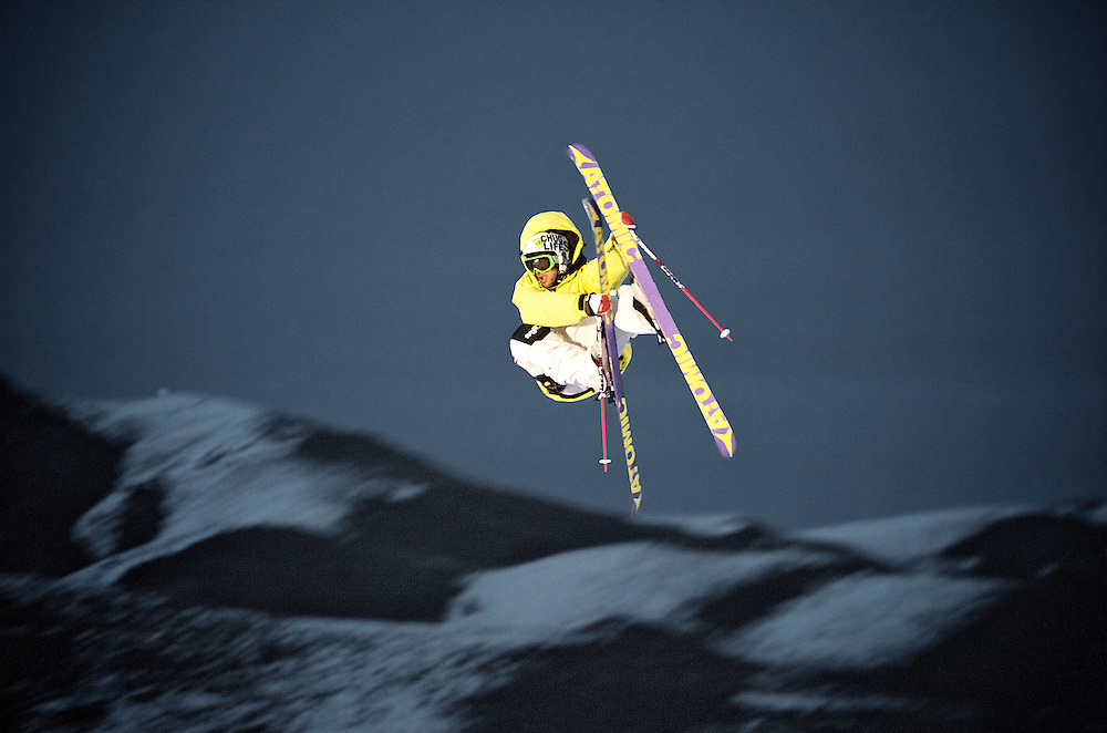 A freestyle skier on Dollar Mountain, Sun Valley Idaho