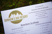 Sept 28, 2014 - Glens Falls N.Y.: Exectuive Chef AJ Richards from the Dunham's Bay Resort demonstrates the preparation of Bourbon Scallops at the annual Taste of the North Country event in Glens Falls NY. (Photo/Todd Bissonette - rtbphoto.com)