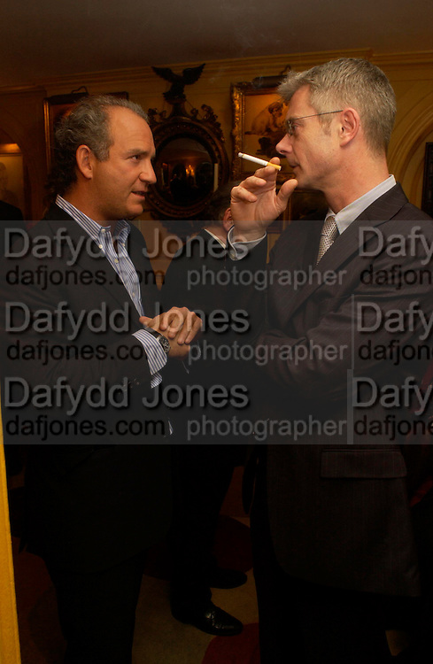 Charles Finch and Stephen Daldry. Charles Finch. Artists Independent Networks  Pre-BAFTA Party at Annabel's co hosted by Charles Finch and Chanel. Berkeley Sq. London. 11 February 2005. . ONE TIME USE ONLY - DO NOT ARCHIVE  © Copyright Photograph by Dafydd Jones 66 Stockwell Park Rd. London SW9 0DA Tel 020 7733 0108 www.dafjones.com