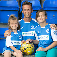 Chris Millar Testimonial…05.07.18<br />Former St Johnstone player Chris Millar pictured ahead of his testimonial game against Aberdeen this weekend with his daughters Sophia (6) and Ellie (11) showing off the testimonial kit.<br />see story by Gordon Bannerman 07729 865788<br />Picture by Graeme Hart.<br />Copyright Perthshire Picture Agency<br />Tel: 01738 623350  Mobile: 07990 594431