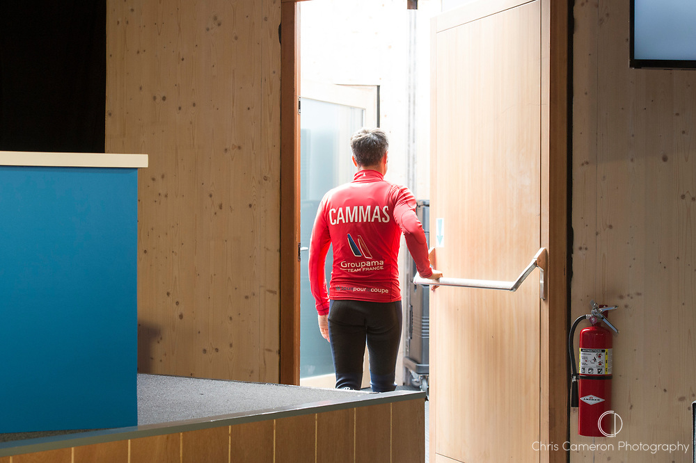 America's Cup Village, Bermuda. 3rd June 2017. Franck Cammas leaves the closing press conference for the America's Cup Qualifiers. Groupama Team France ended the regatta at the bottom of the points and so are eliminated.