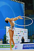 Kaho Minagawa of Japan competes during the Rhythmic Gymnastics Individual qualification of hoop  of the World Cup at Adriatic Arena on April 1, 2016 in Pesaro, Italy. She was born 20 August 1997 in Chiba Prefecture, Japan.