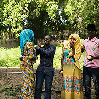 People and students enjoy their free time in the Maiduguri zoo.