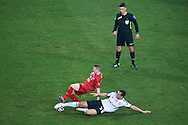 (R) Legia's Tomasz Jodlowiec fights for the ball with (L)  Adam Deja from Podbeskidzie during T-Mobile ExtraLeague soccer match between Legia Warsaw and Podbeskidzie Bielsko Biala in Warsaw, Poland.<br /> <br /> Poland, Warsaw, March 01, 2015<br /> <br /> Picture also available in RAW (NEF) or TIFF format on special request.<br /> <br /> For editorial use only. Any commercial or promotional use requires permission.<br /> <br /> Mandatory credit:<br /> Photo by © Adam Nurkiewicz / Mediasport