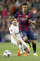 Neymar da Silva Santos of Barcelona and Yohan Cabaye of PSG during the UEFA Champions League football match quarter final, 2 leg, between FC Barcelona and Paris Saint Germain on April 21, 2015 at Camp Nou stadium in Barcelona, Spain. Photo Bagu Blanco / DPPI
