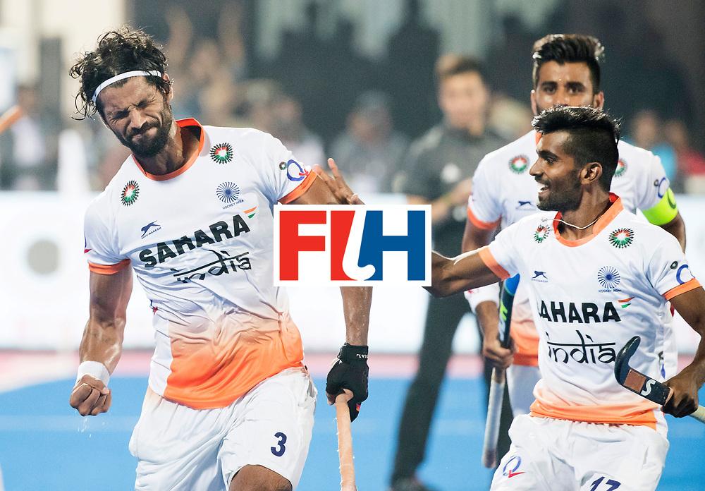 BHUBANESWAR - The Odisha Men's Hockey World League Final . Match ID 06 . India v England (2-3).  Rupinder Pal Singh (Ind) scored 2-2.  right Sumit (Ind).   WORLDSPORTPICS COPYRIGHT  KOEN SUYK
