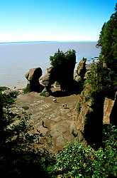 Canada, New Brunswick, the Hopewell Rocks, the highest tides   .Photo: cnbrun101.Photo Copyright: Lee Foster, 510-549-2202, lee@fostertravel.com, www.fostertravel.com