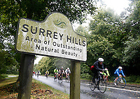 RideLondon cyclists pass a Surrey Hills sign as they approach Dorking Town Centre<br /> <br /> Prudential RideLondon, the world&rsquo;s greatest festival of cycling, involving 70,000+ cyclists &ndash; from Olympic champions to a free family fun ride - riding in five events over closed roads in London and Surrey over the weekend of 9th and 10th August. <br /> <br /> Photo: Jed Leicester for Prudential RideLondon<br /> <br /> See www.PrudentialRideLondon.co.uk for more.<br /> <br /> For further information: Penny Dain 07799 170433<br /> pennyd@ridelondon.co.uk