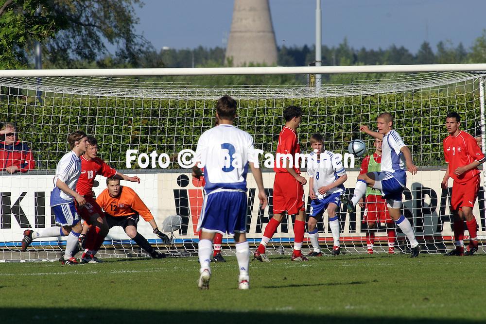 27.05.2004, Veritas Stadion, Turku, Finland..Under-21 Friendly International match, Finland v Poland.Poland goal defended by Michal Kula (12) under pressure from Niklas Tarvaj?rvi (right) and Henri Scheweleff (8)..©Juha Tamminen