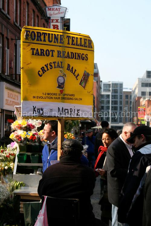 Sign for fortune teller in Shops, Moore Street, Dublin, Ireland