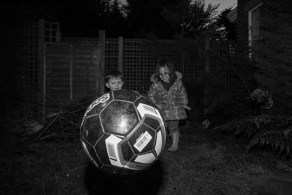 Joe and Lavinia play ball in Claudia's backyard in Berkhamsted, England Wednesday, Feb. 18, 2015 (Elizabeth Dalziel) #thesecretlifeofmothers #bringinguptheboys #dailylife