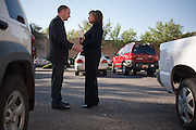 ALBUQUERQUE, NM - OCTOBER, 13: Republican gubernatorial candidate Susana Martinez talks with campaign manager Ryan Cangiolosi before leaving for a private fundraiser on October 13, 2010 in Albuquerque New Mexico. (Photo by Steven St. John/For The Washington Post)