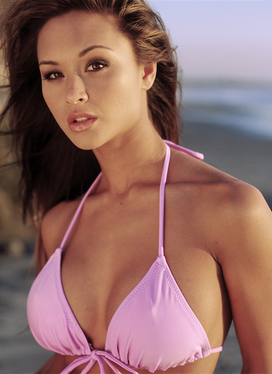 Fashion and Beauty Photography - Michelle photographed in pink swimsuit in San Diego, CA.