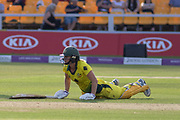 Ellyse Perry left stranded during the Royal London Women's One Day International match between England Women Cricket and Australia at the Fischer County Ground, Grace Road, Leicester, United Kingdom on 4 July 2019.