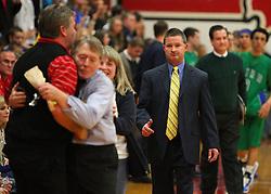 February 12, 2011: High School Boys Varsity Basketball Bridgeport vs. Robert C. Byrd at Bridgeport High School. Both coaches react after game. (Photo by: Ben Queen)