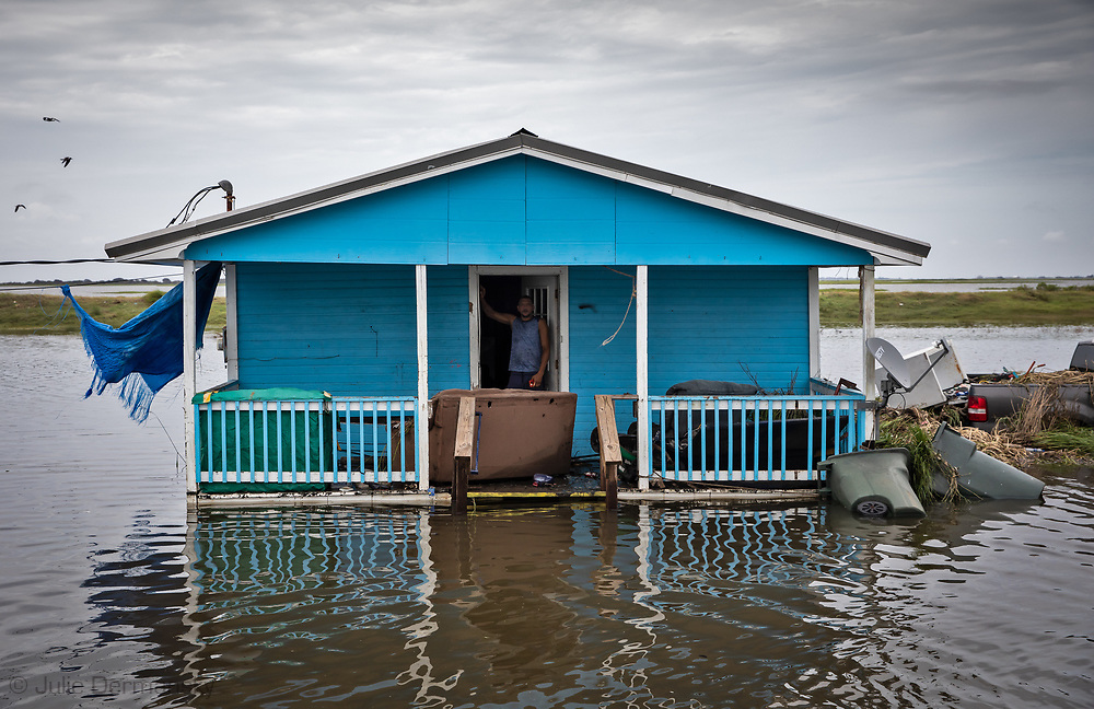flooding on the Isle de Jean Charles in Terribonne Parish, Lousiana days after a storm surge for Hurricane Barry hit the southern coast of the state. The surge hit while Barry was still a tropical storm.