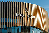 A close-up of The Royal Arena insignia in Copenhagen.
