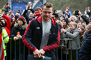 Liverpool goalkeeper Simon Mignolet (22) arrives off the club coach during the Premier League match between Brighton and Hove Albion and Liverpool at the American Express Community Stadium, Brighton and Hove, England on 12 January 2019.