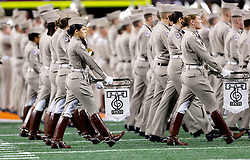 The Texas A&M marching band during the 77th AT&T Cotton Bowl Classic between the Texas A&M University Aggies and the Oklahoma University Sooners at Cowboys Stadium in Arlington, Texas. Texas A&M wins the 77th AT&T Cotton Bowl Classic against Oklahoma, 41-13.
